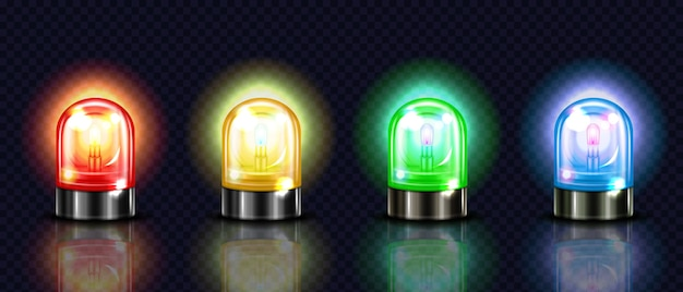 Siren lights illustration of red, yellow or green and blue alarm lamps or police and ambulance Free Vector