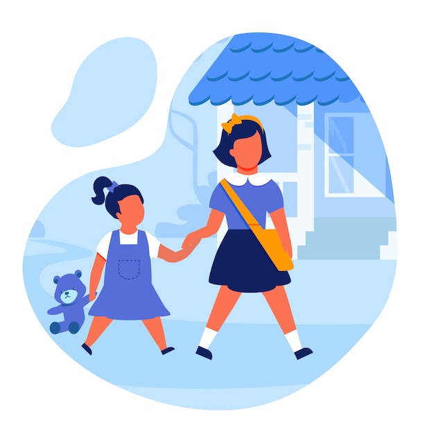 Sisters holding hands flat vector illustration Premium Vector