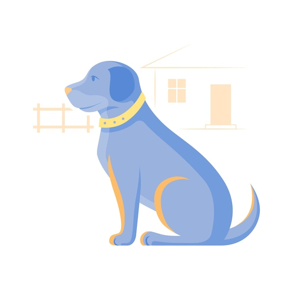 座っている犬のイラスト。 Premiumベクター