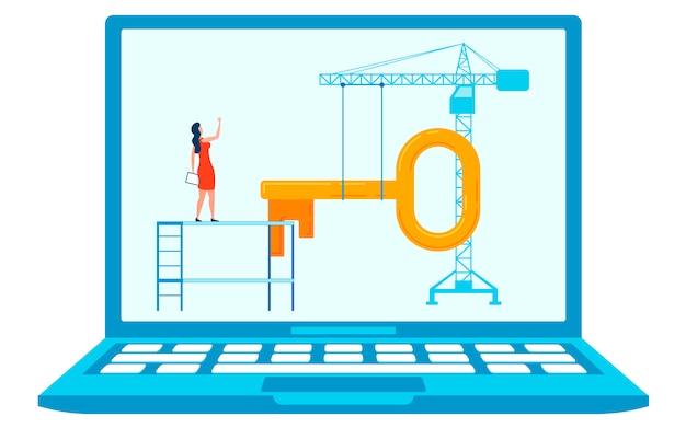 Site under construction concept flat illustration Premium Vector