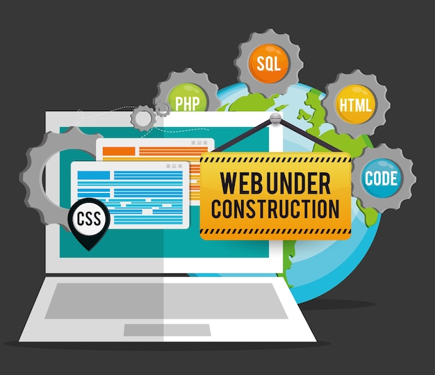 Site under construction design Premium Vector