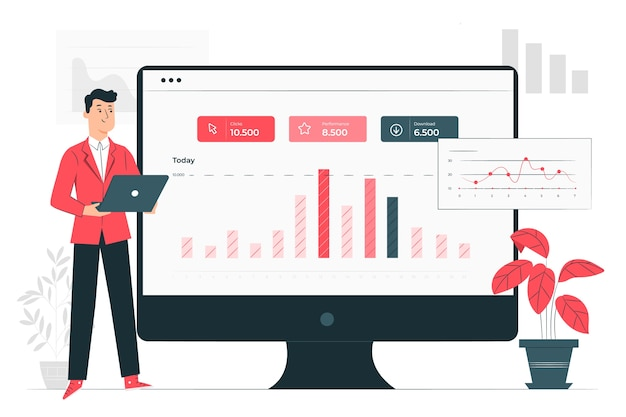 Site stats concept illustration Free Vector