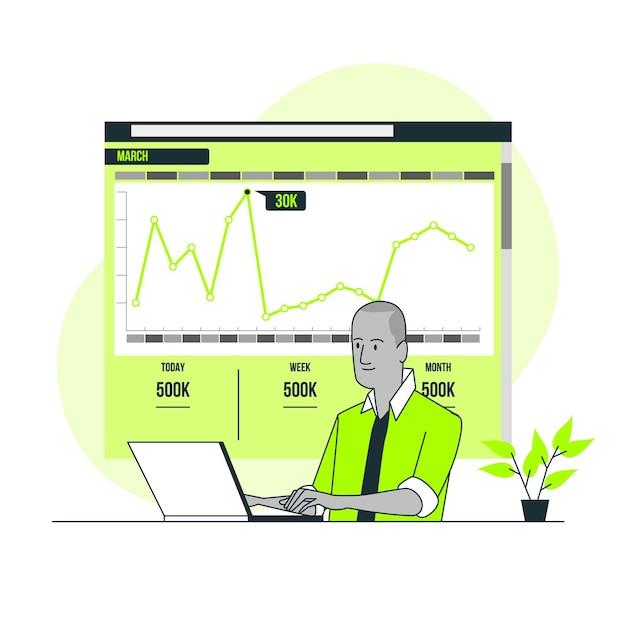 Иллюстрация концепции статистики сайта Бесплатные векторы