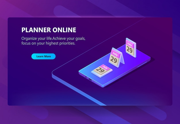 Site template for planner online, schedule Free Vector