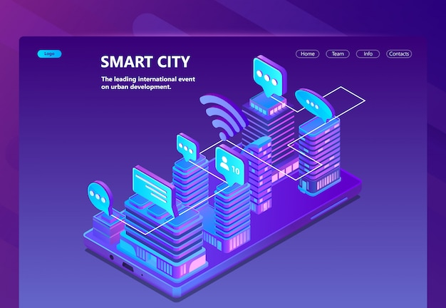 Site with 3d isometric smart city Free Vector