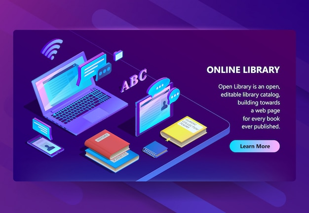 Site with online library, e-learning portal Free Vector