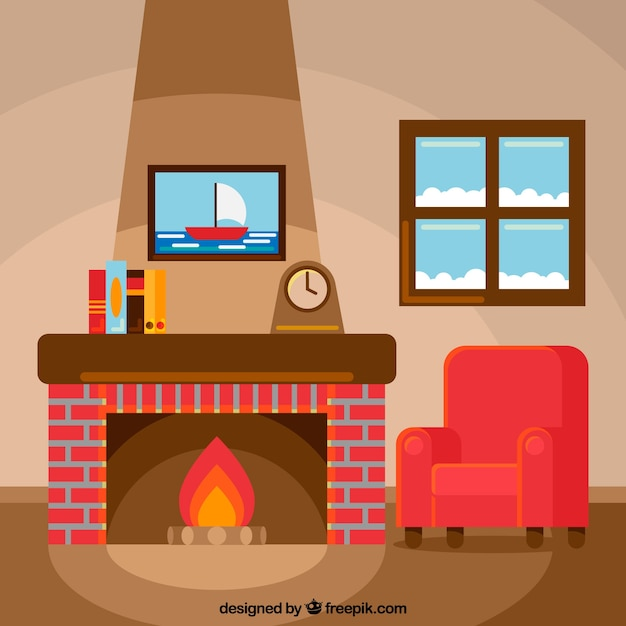 Sitting by the fireplace on a winter day Free Vector