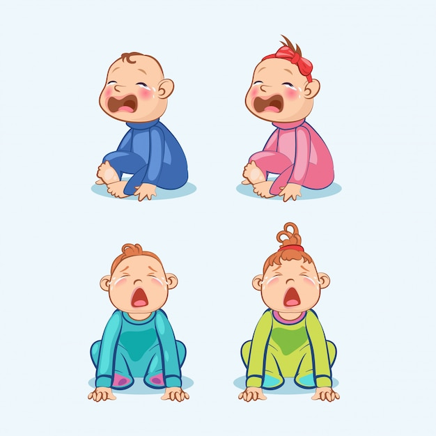Sitting and crying little baby boy and baby girl with mouth wide open Premium Vector