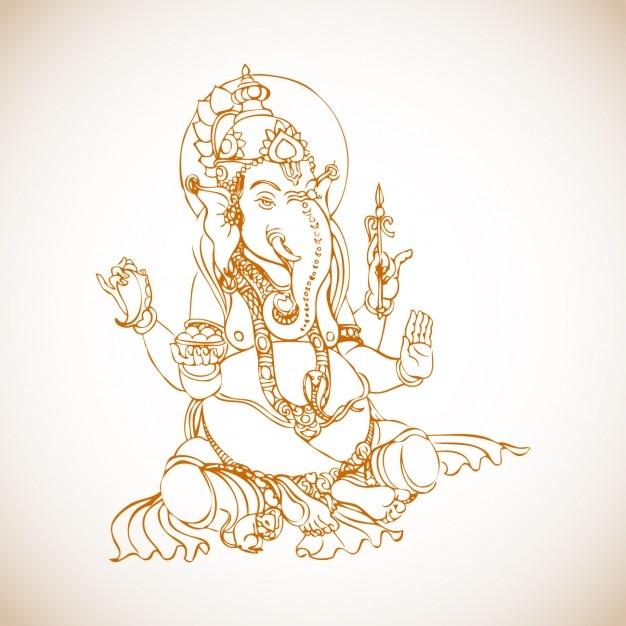 sitting ganesha drawing vector free download
