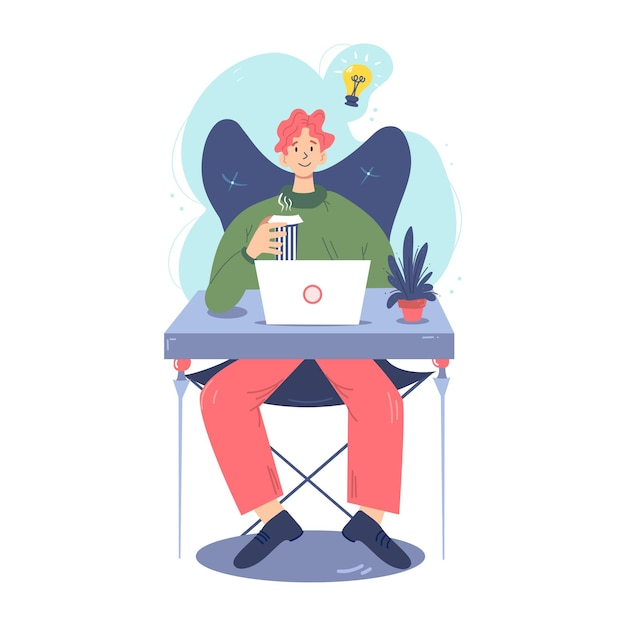 Sitting man works in a comfortable workspace. Premium Vector