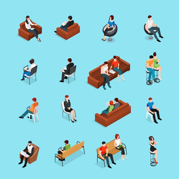 Sitting people characters set Free Vector