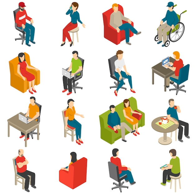 Sitting people isometric icon set Free Vector