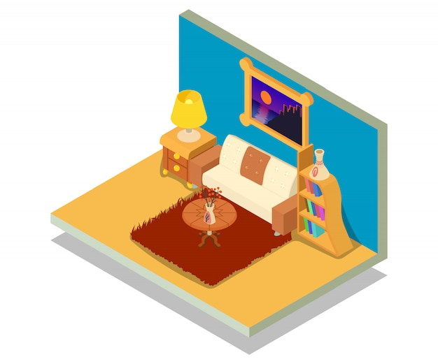 Sitting room concept scene Premium Vector