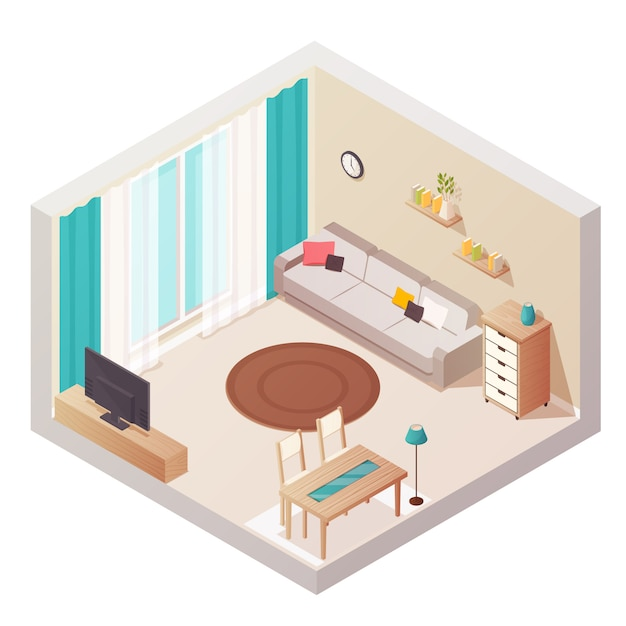 Sitting room isometric interior design composition Free Vector