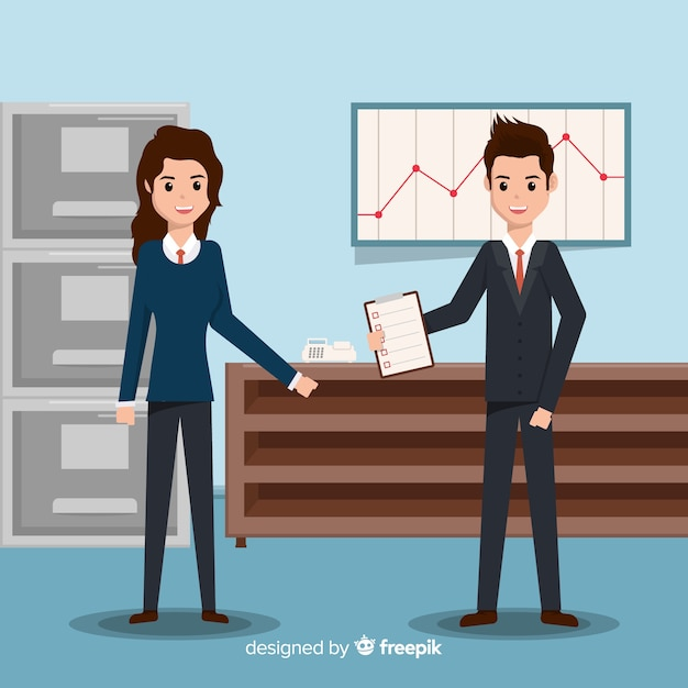 Situation people at office flat background Free Vector