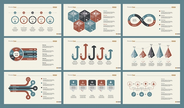 six accounting slide templates set free vector
