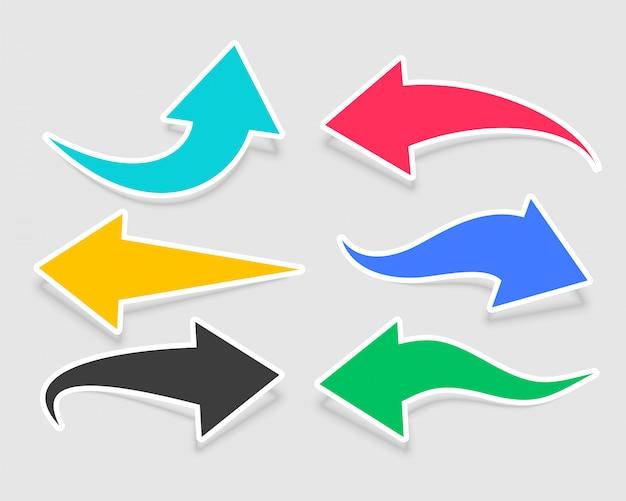 Шесть наклеек со стрелками разных цветов Бесплатные векторы