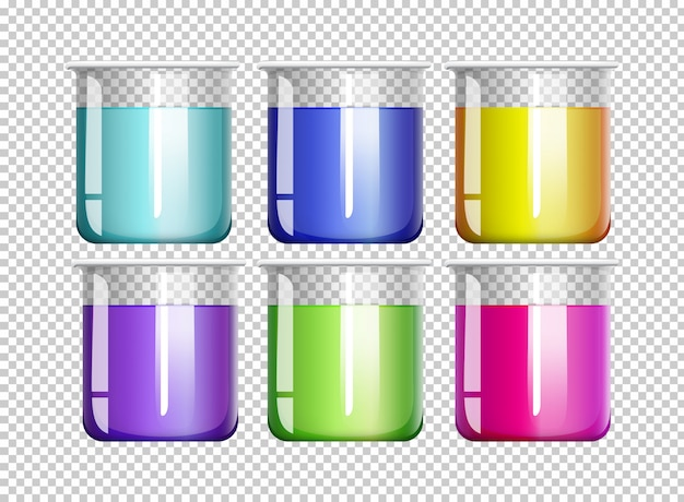 Six beakers filled with colorful liquid Premium Vector