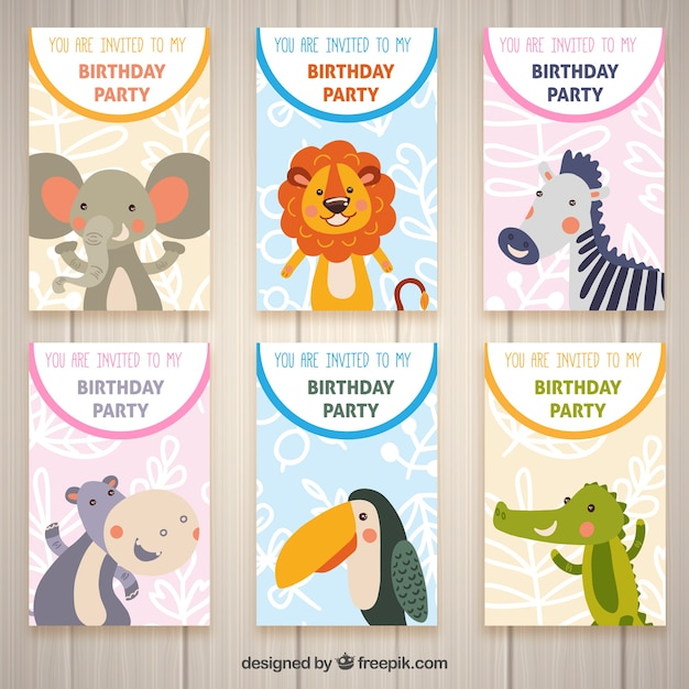 Six Birthday Cards With Animals Vector Free Download