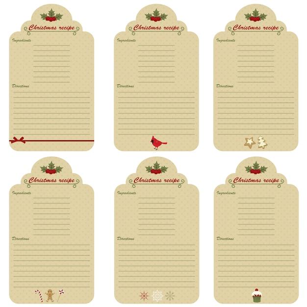 Six christmas festive recipe cards Premium Vector