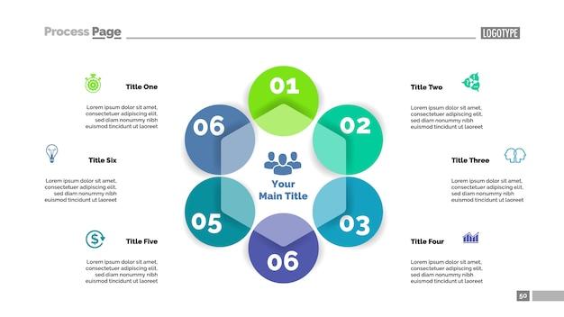 Six circle flowchart slide template. business data. graph, diagram Free Vector