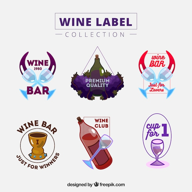 Six colorful wine labels with bottles and\ glasses