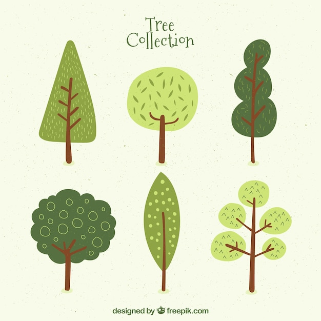 Six Cute Trees Vector