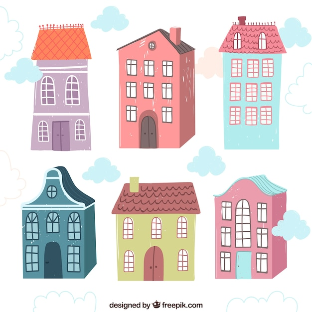 Six cute vintage hand drawn houses