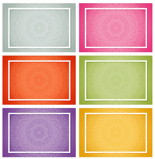 Six designs with mandala patterns Free Vector