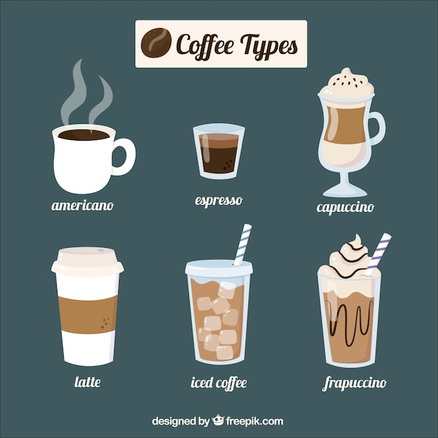Six different coffees   Free Vector