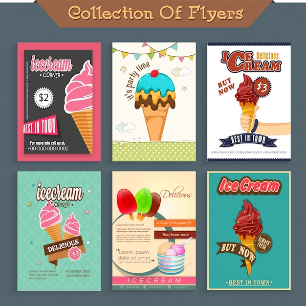 Six different Ice Cream flyers, template or price card design ...