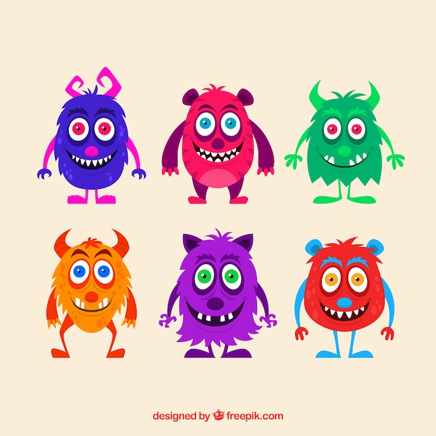 Six different monster character designs Free Vector