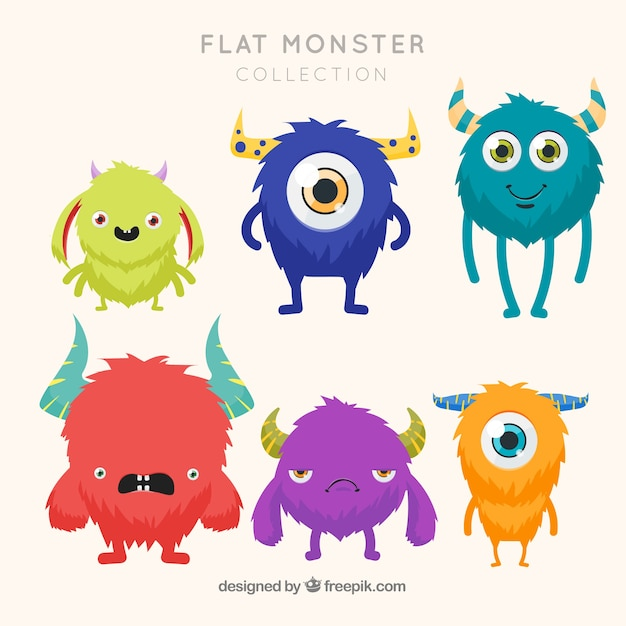 Six different monster characters Free Vector