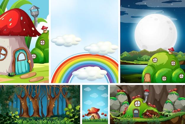 おとぎ話の美しい妖精とアリ、アリとアリ、空の虹と空、夜の森 Premiumベクター