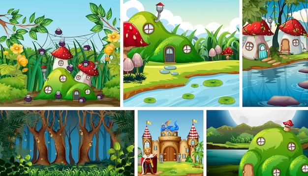 キノコの村とファンタジーの世界の6つの異なるシーン 無料ベクター