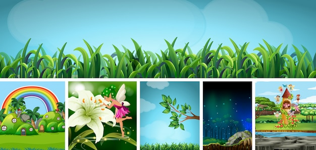 おとぎ話の美しい妖精と自然ファンタジー世界の6つの異なるシーン 無料ベクター