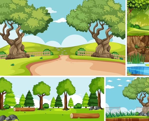 自然設定漫画スタイルの6つの異なるシーン 無料ベクター