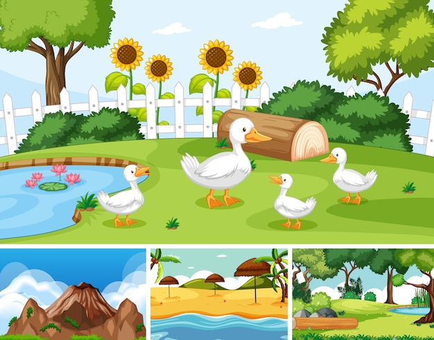 Six different scenes in nature setting cartoon style Free Vector