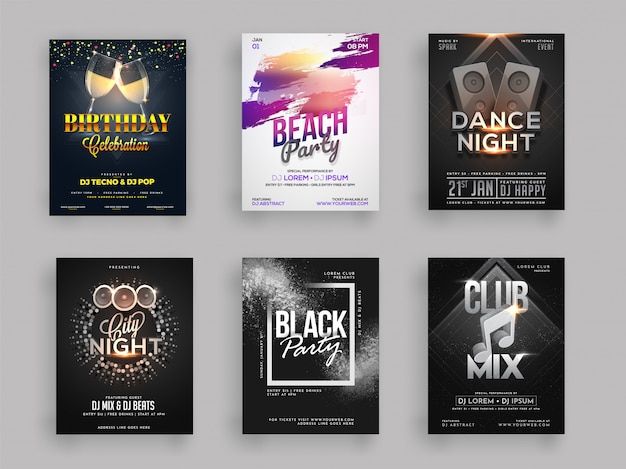 Six different styles for set Premium Vector