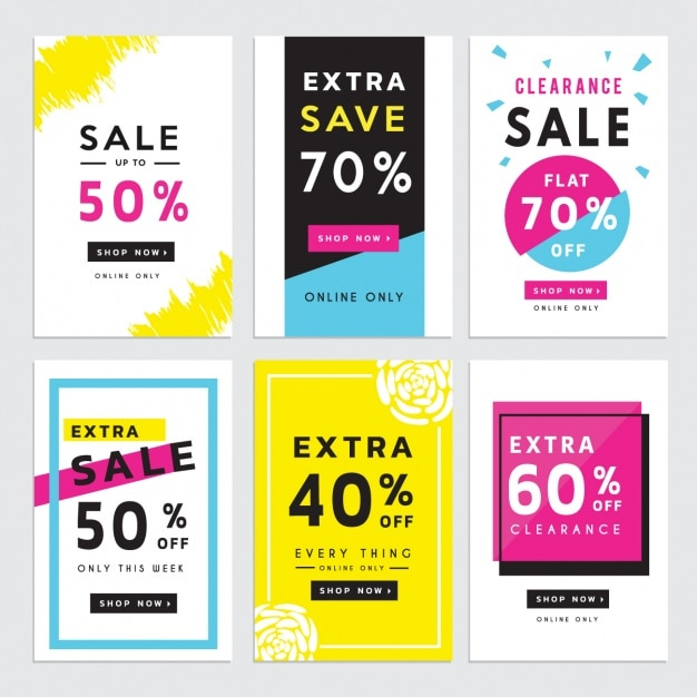 Six discount vouchers Vector – Free Discount Vouchers