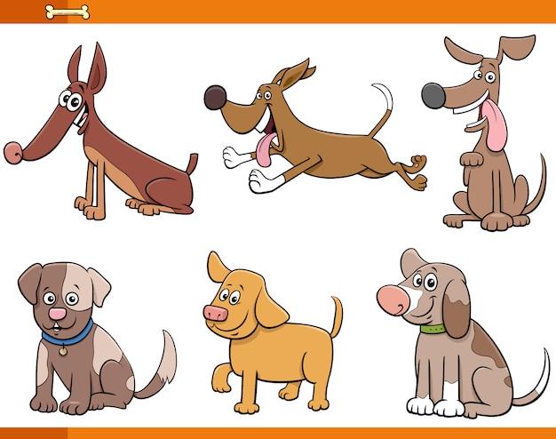 6匹の犬と子犬のコミックキャラクターセット Premiumベクター