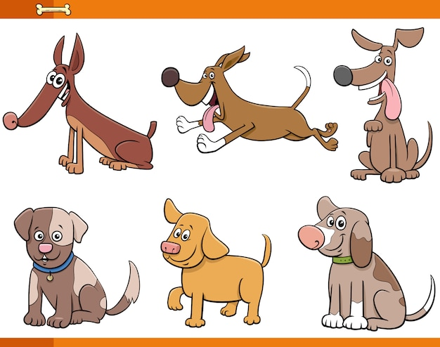 Six dogs and puppies comic characters set Premium Vector