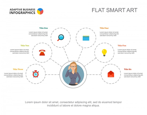 Free Flowchart Template | Six Elements Flowchart Template For Presentation Business Data