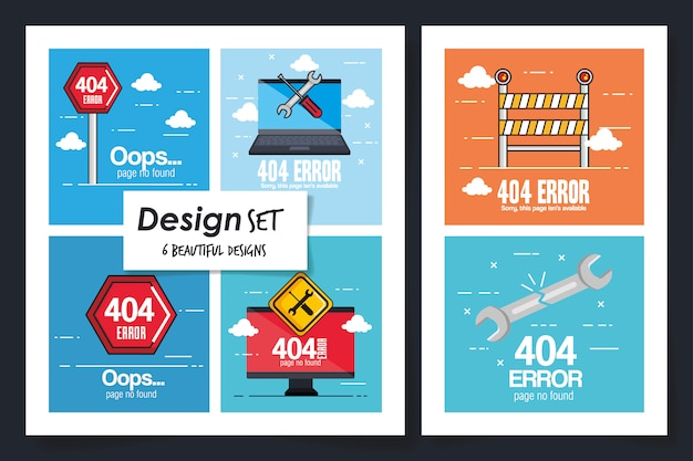 Six of error page not found Premium Vector