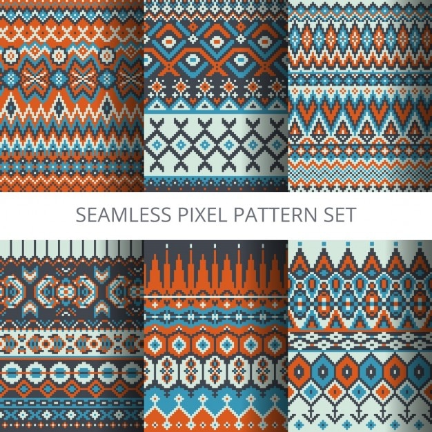 Six Ethnic Pixel Patterns Vector Free Download Delectable Pixel Patterns