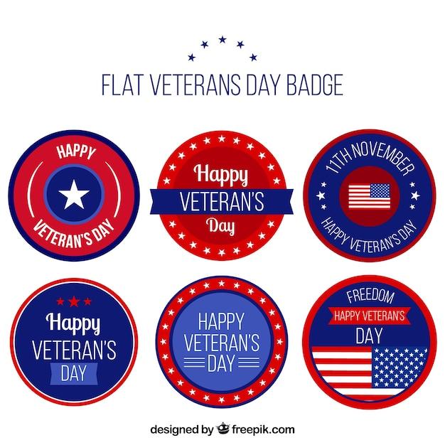Six flat veterans day badges
