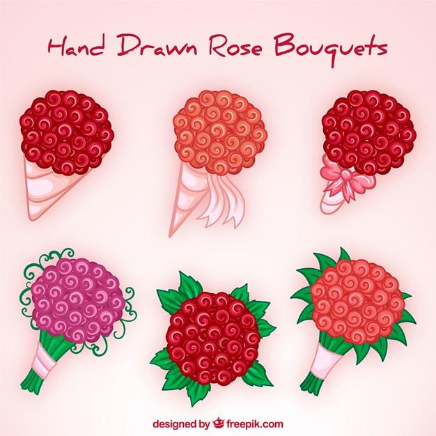 Six floral bouquets