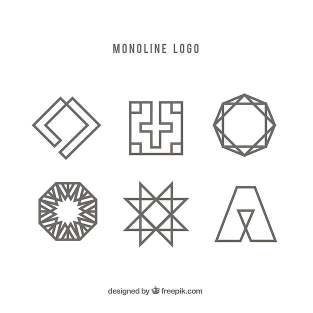 Six Geometric Monoline Logos Vector