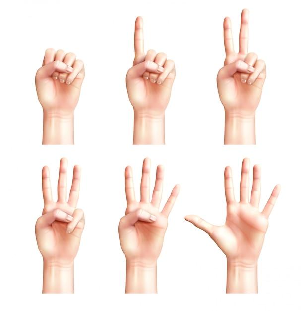 Sei gesti di mani realistiche di persone con le dita che contano da zero a cinque isolate Vettore gratuito