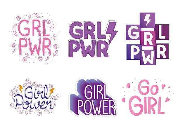 Six girl power letterings set design Premium Vector